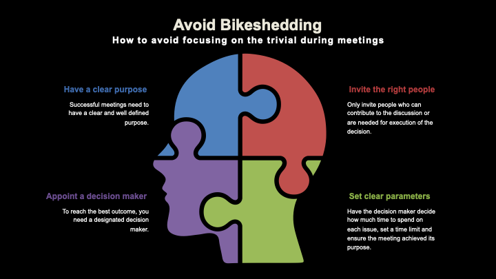 How to avoid meetings about the trivial, aka bikeshedding